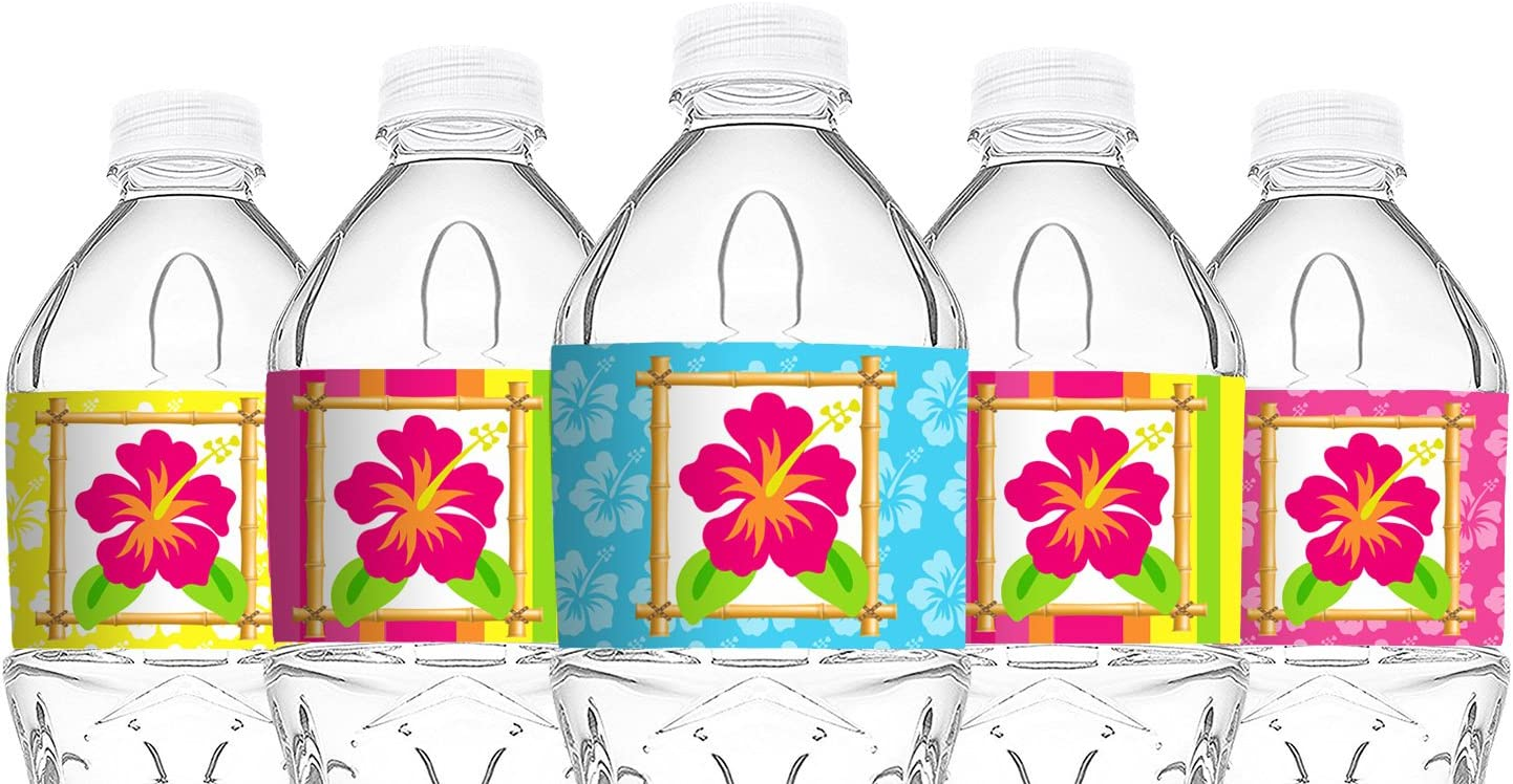 POP parties Luau Bottle Wraps - 20 Luau Water Bottle Labels - Tiki Luau Decorations - Made in The USA