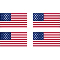 """Rogue River Tactical 4 Pack USA American Flag Decal Bumper Sticker 5x3"""" United Sates of America"""