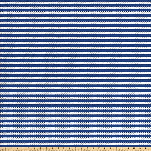 Navy Blue Fabric by the Yard by Ambesonne, Yacht Navy Marine Themed Rope Stripe Pattern on Dark Blue Background, Decorative Fabric for Upholstery and Home Accents, Navy Blue and White