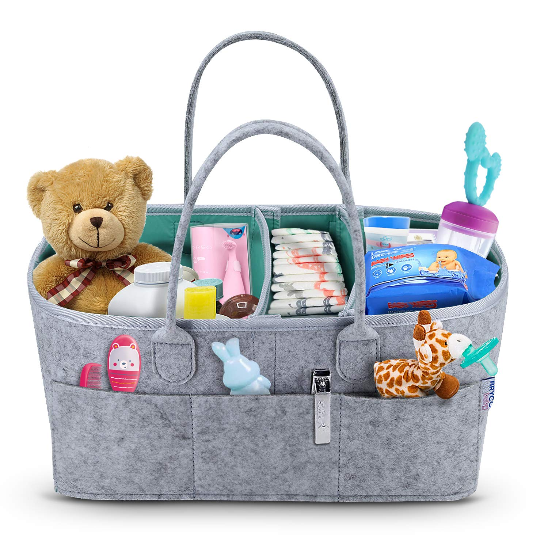 LjzlSxMF Baby Diaper Organizer Infant Diaper Caddy Organizing Felt Basket Portable Nursery Storage Bin Portable Holder Bag for Changing Table and Car Nursery Essentials Grey