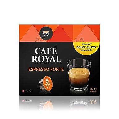 Café Royal Espresso Forte 48 cápsulas compatibles con Nescafé (R)* Dolce Gusto (R)* - Intensidad: 8/10 - 3 x Pack de 16 cápsulas - certificado UTZ - ...