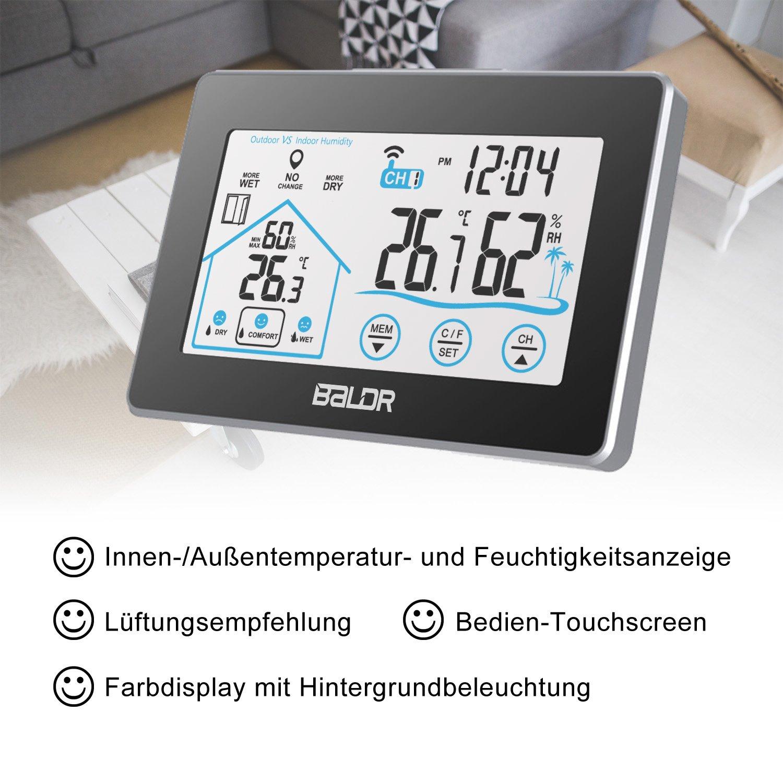 higr/ómetro retroiluminaci/ón de Color e indicador de Hora BALDR/ term/ómetro Digital para Interior y Exterior Negro /Estaci/ón meteorol/ógica inal/ámbrica con Sensor Exterior