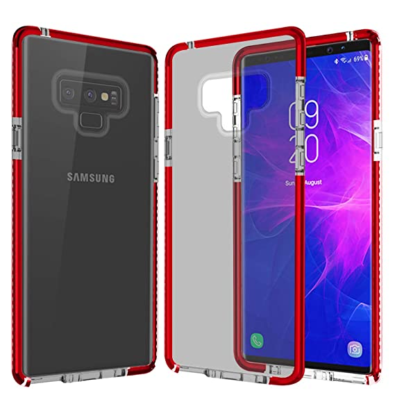 competitive price b8925 4dce3 Note 9 Cover Case, Camera Protection Note 9 Phone Case, Red Frame and Black  Back Cover Soft TPU Phone Case for Samsung Galaxy Note 9