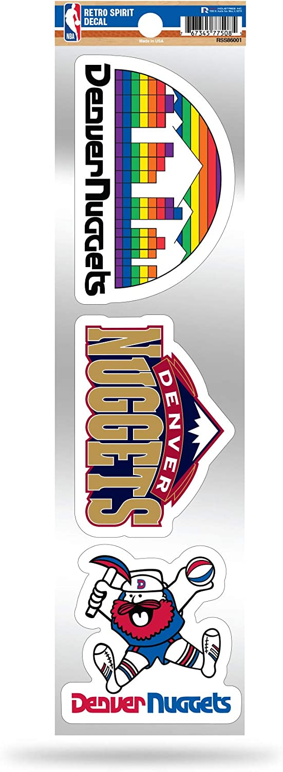 Rico Industries NBA Denver Nuggets NBA 3-Piece Retro Spirit Decals, Team Color, Size of Individual Decals Will Vary