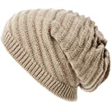 Jeff & Aimy Mens Wool/Acrylic Knitted Slouchy Beanie Winter Hats Warm Fashion Skull Cap