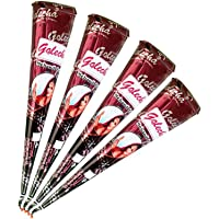 4x Golecha 100% natuurlijke henna pasta cones kegel (rood-bruin) No Mix, No PPD, 125g