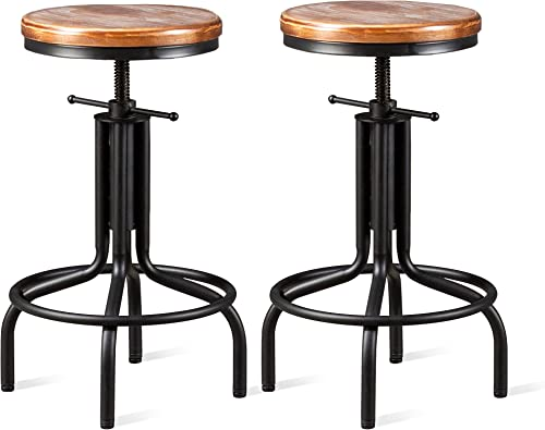 Topower American Antique Industrial Design Metal Adjustable Height Kitchen Dining Breakfast Chair Industrial Style Bar Stool Fully Welded 22-28 inch Set of 2 Black, Wooden Top