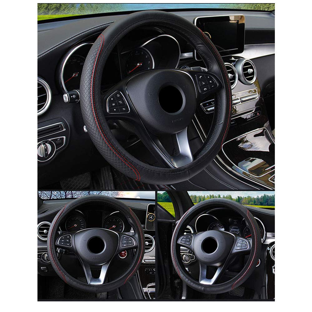 Xmomx Universal Leather Steering Wheel Cover 15 inch Breathable Auto Steering Wheel Cover