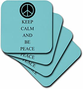 3dRose CST_110414_4 Keep Calm and be Peace Inspirational Sayings Peace Sign-Ceramic Tile Coasters, Set of 8