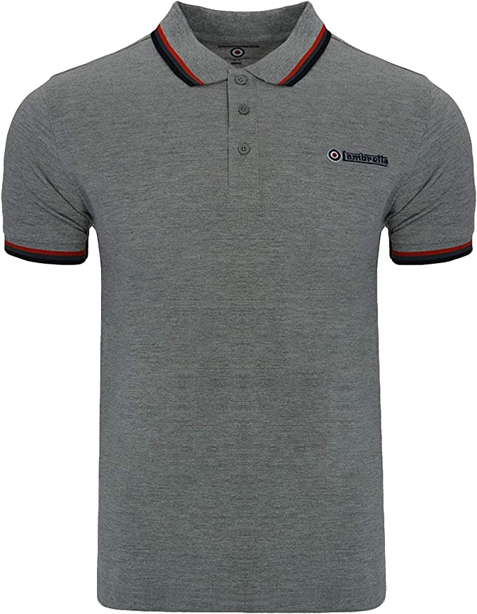 Lambretta Mens Classic Black Target Short Sleeve Polo Pique Tee T-Shirts-SALE