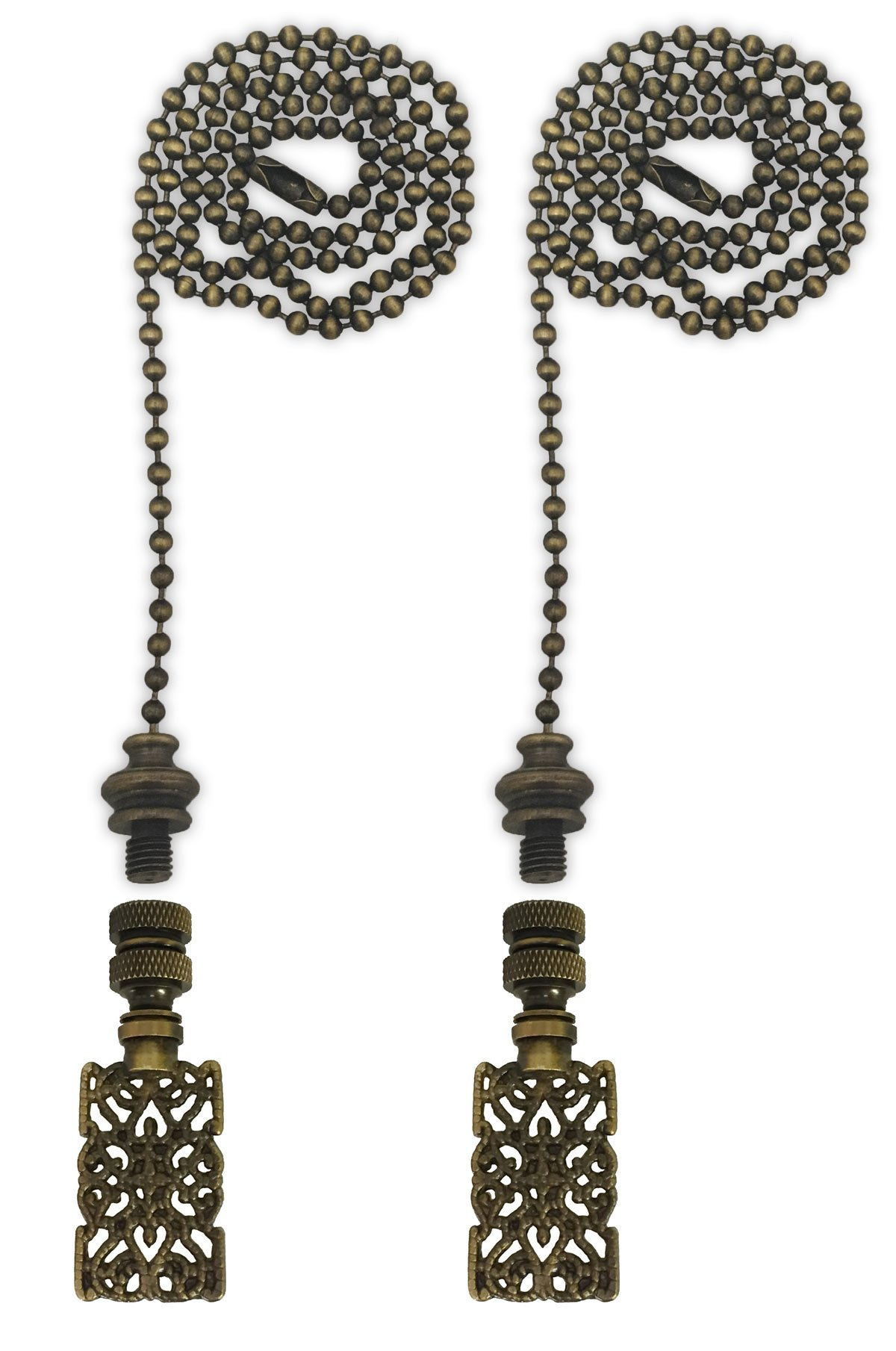 Royal Designs Fan Pull Chain with Rectangle Center Cross Filigree Finial - Antique Brass - Set of 2