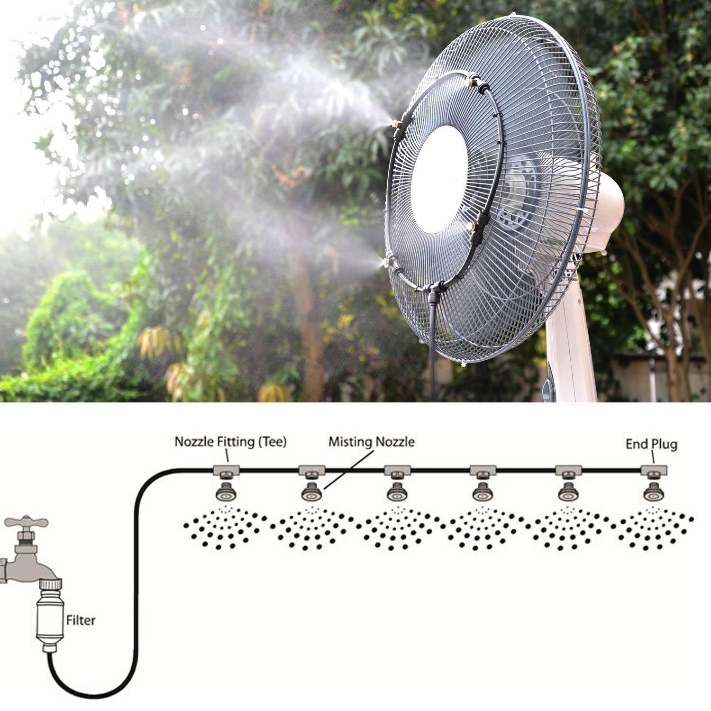 Outdoor-Vernebelungsset f/ür Patio-Garten-Gew?chshaus-Trampolin f/ür den Wasserpark 26,2 ft Patio-Vernebelungssystem mit 11 Messing-Nebeld/üsen CT Nebelk/ühlsystem