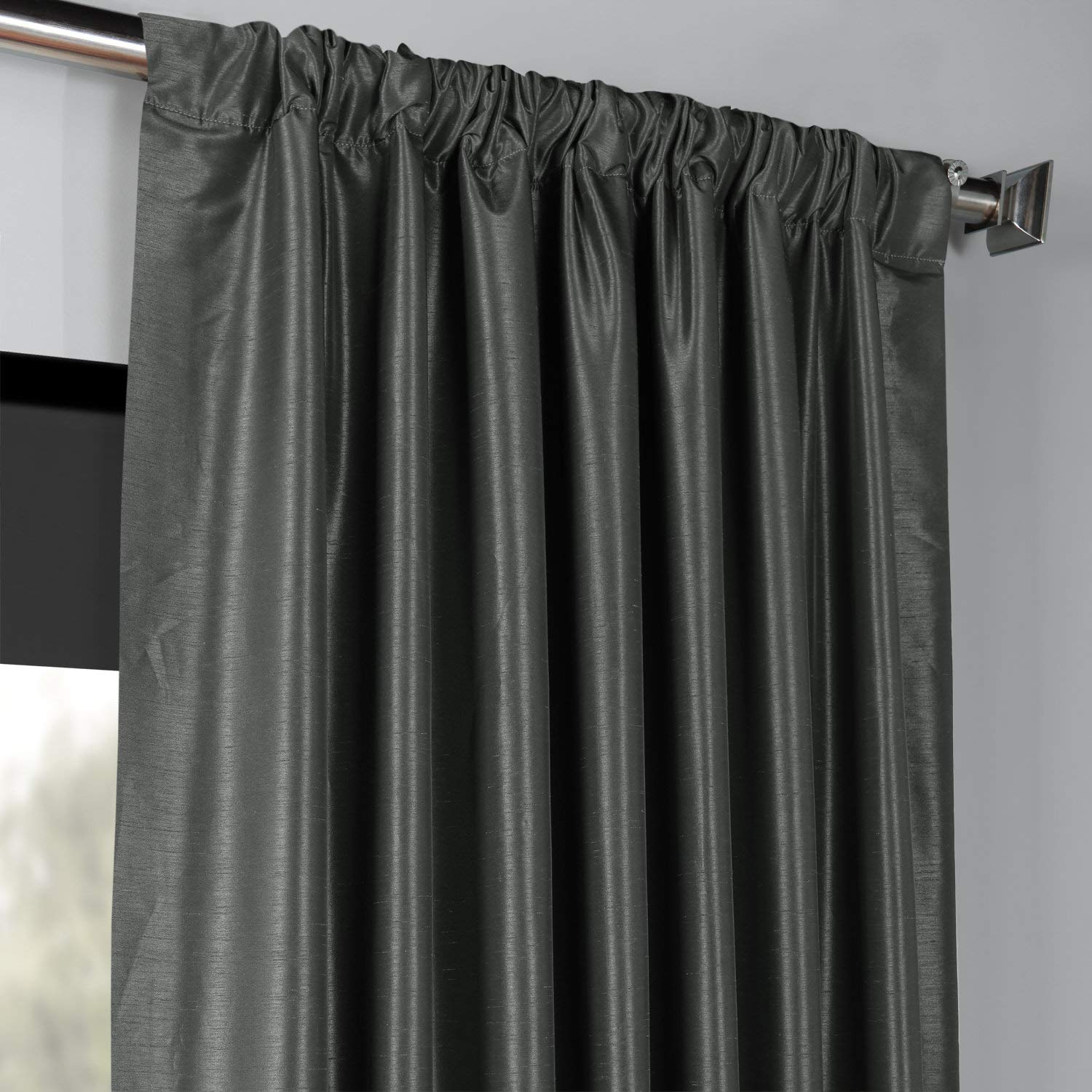 50 X 108 Exclusive Fabrics /& Furnishings PDCH-KBS1BO-108 Blackout Vintage Textured Faux Dupioni Curtain Ice