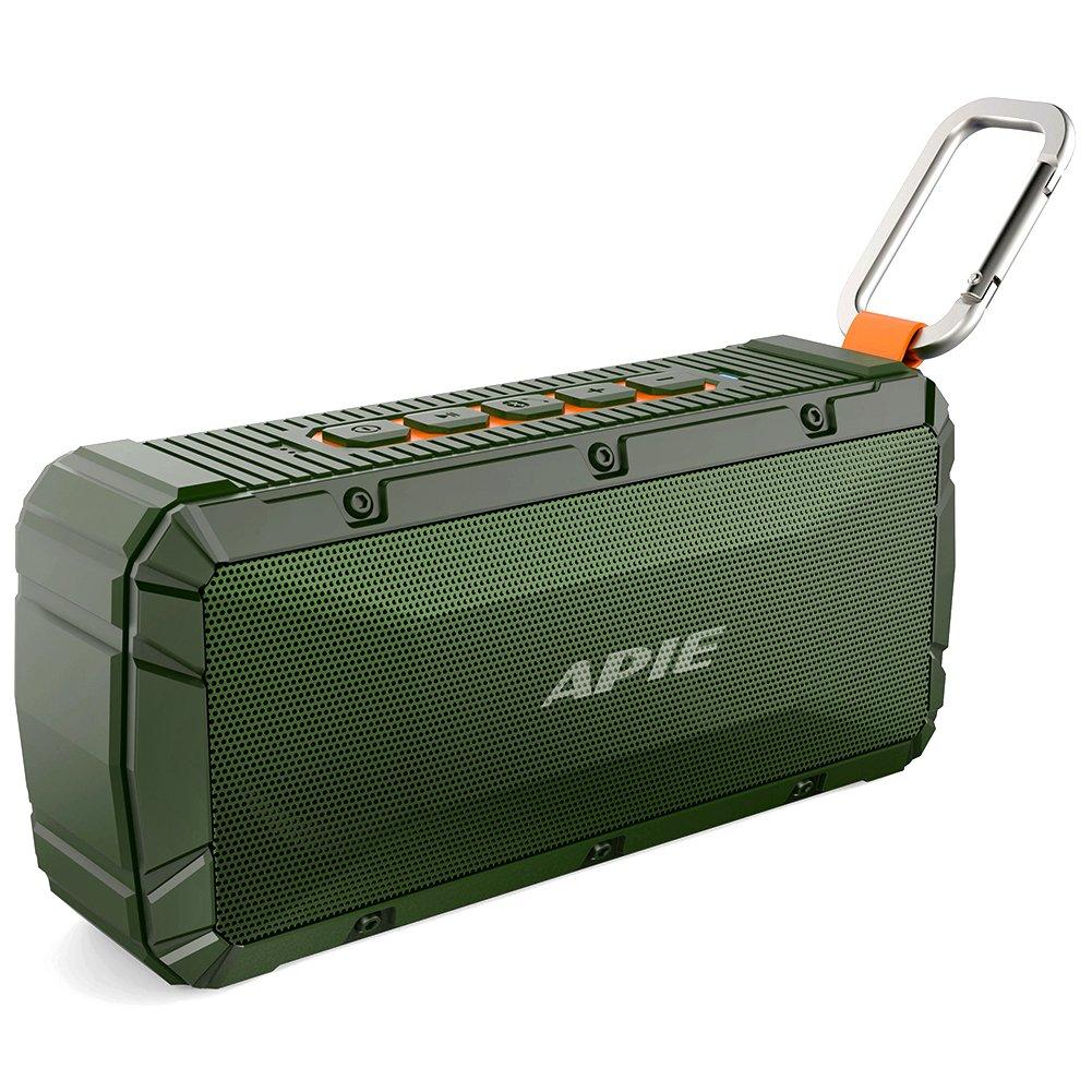 APIE Portable Wireless Outdoor Bluetooth Speaker IPX6 Waterproof Dual 10W Driversf, Enhanced Bass, Built in Mic,water Resistant,Beach, Shower & Home by Apie