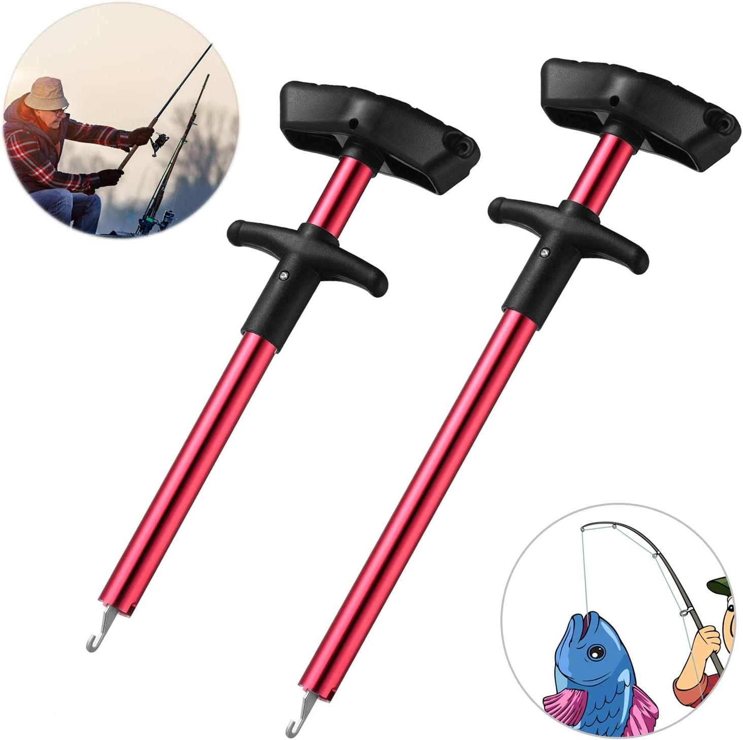Syhood 2 Pieces Fish Hook Remover T-Shaped Hook Puller Fish Hook Separator Fishing Tool