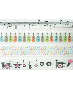 Music Washi Tape Set (4 Rolls Total - 1 of Each Design Pictured) - Music Notes Paper Tape, Guitar Clear Tape, Rock Band Decorative Tape, Sheet Music Sticky Tape