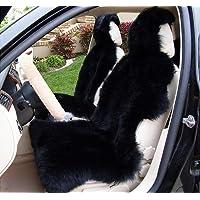 OKAYDA 1 Piece Australia Sheepskin Car Seat Covers Real Fur Car Interior Accessories Cushion Newest Winter Stylish Plush Car Seat Cover Black