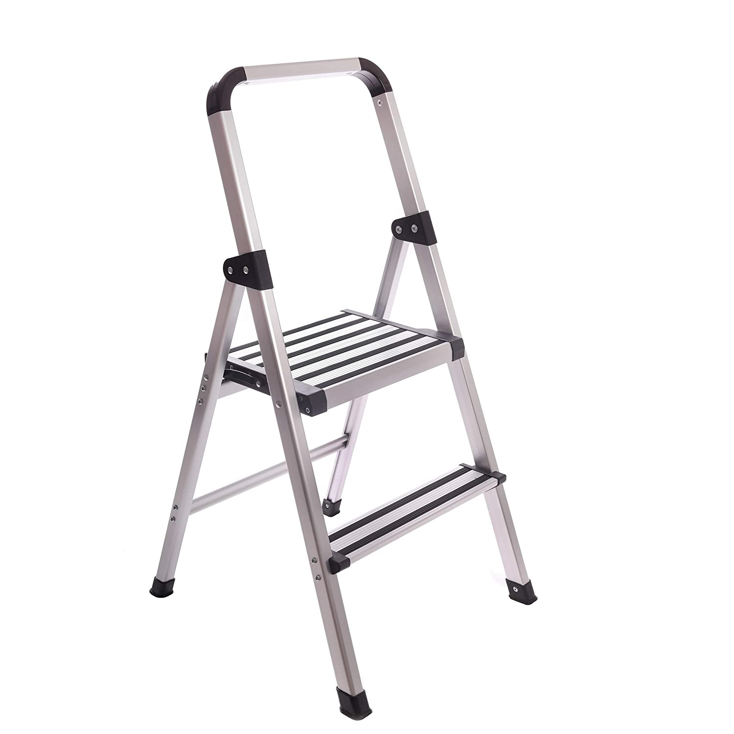 Brilliant Aluminum Folding 2 Step Ladder Anti Slip Sturdy Ultra Lightweight And Slim Design Heavy Duty Silver Inzonedesignstudio Interior Chair Design Inzonedesignstudiocom