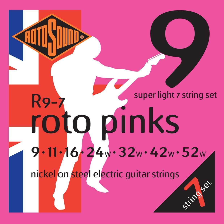 Rotosound R9-7 - Juego de cuerdas para guitarra eléctrica de níquel, 11 16 24 32 42 52