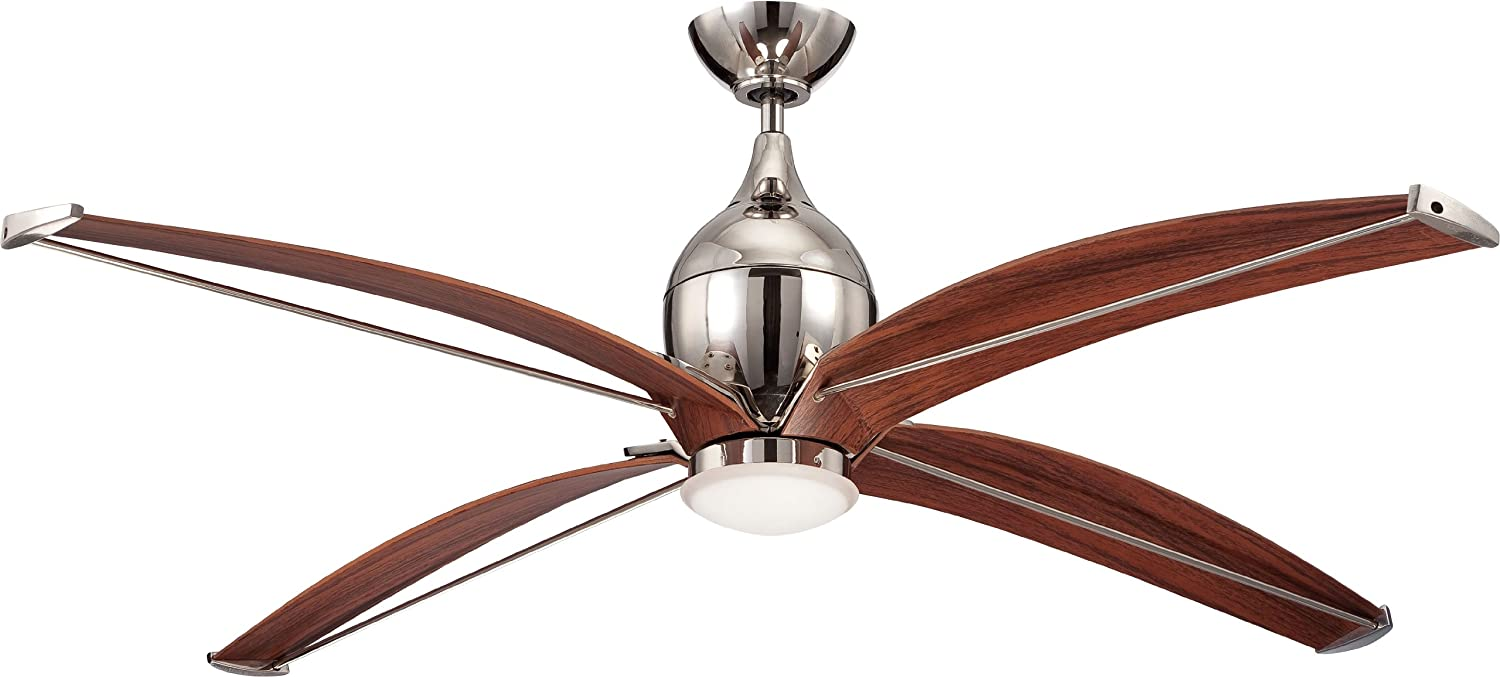 Craftmade TRD60PLN4 Tyrod Modern 60 Ceiling Fan with 13 Watt LED Light Kit and Wall Remote Control, 4 Blades, Polished Nickel