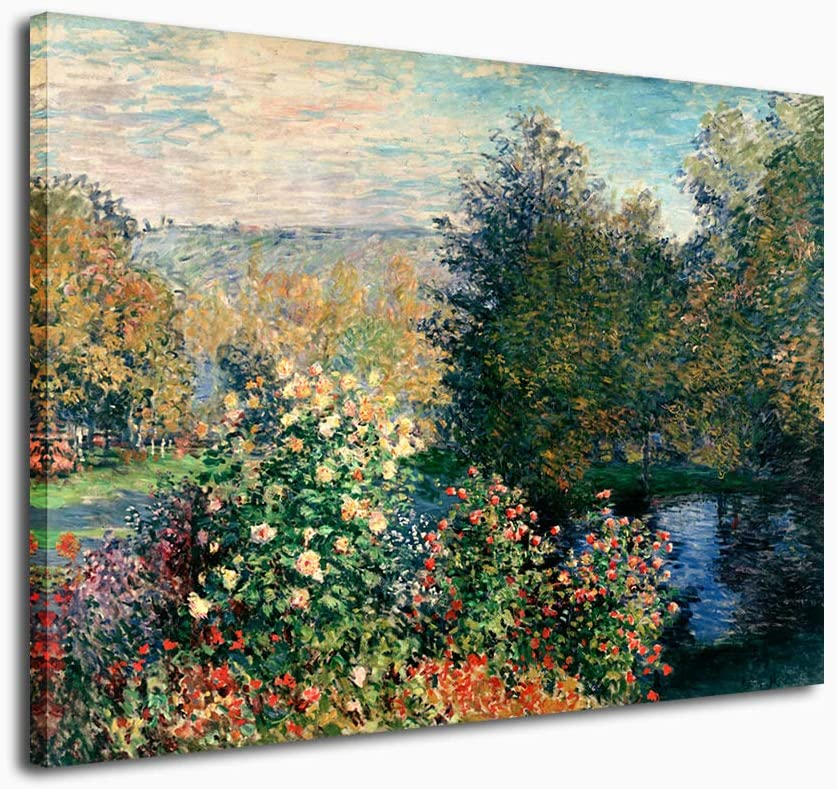 "Canvas Wall Art Claude Monet Painting Garden of Montgeron in Giverny Picture Canvas Artwork Impressive Garden Corner Contemporary Wall Art for Home Decoration Office Wall Decor Large Size 30"" x 40"""
