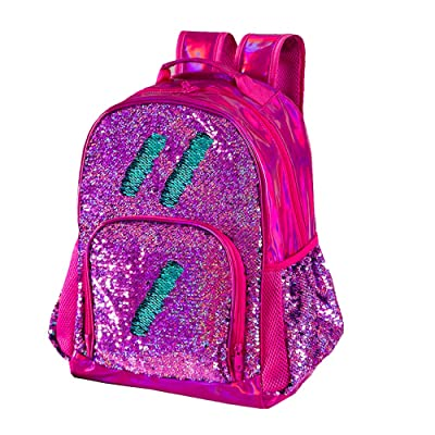 Sequin Backpack for Girls Kids Cute Elementary School Book Bag Teen Glitter Flip Sparkly Holographic Back Pack Orchid | Kids' Backpacks