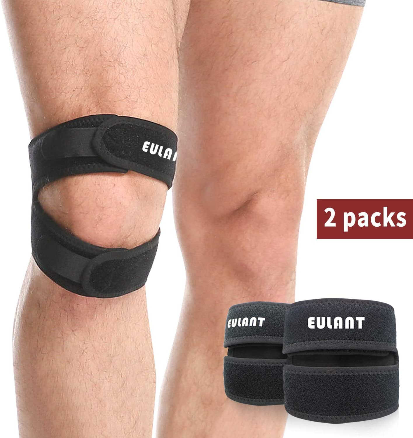 Knee Strap Brace for Patellar Tendonitis PFPS ITBS Hiking Soccer Basketball Running Tennis Volleyball Squats EULANT/® Patella Tendon Strap 2 Pack