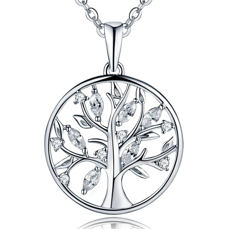 YH joyería plata de ley Circonita Árbol de la vida Yggdrasil Colgante