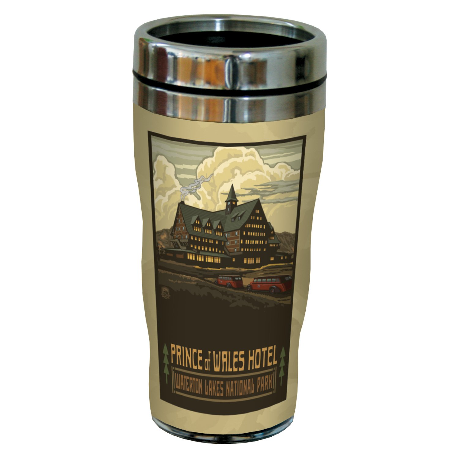 Tree-Free Greetings sg23370 Nostalgic Waterton Lakes Park Prince of Wales Hotel by Paul A. Lanquist Stainless Steel Sip 'N Go Tumbler, 16-Ounce