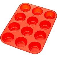 Amazonbasics - Stampo da forno in silicone con 12 formine per muffin e cupcake