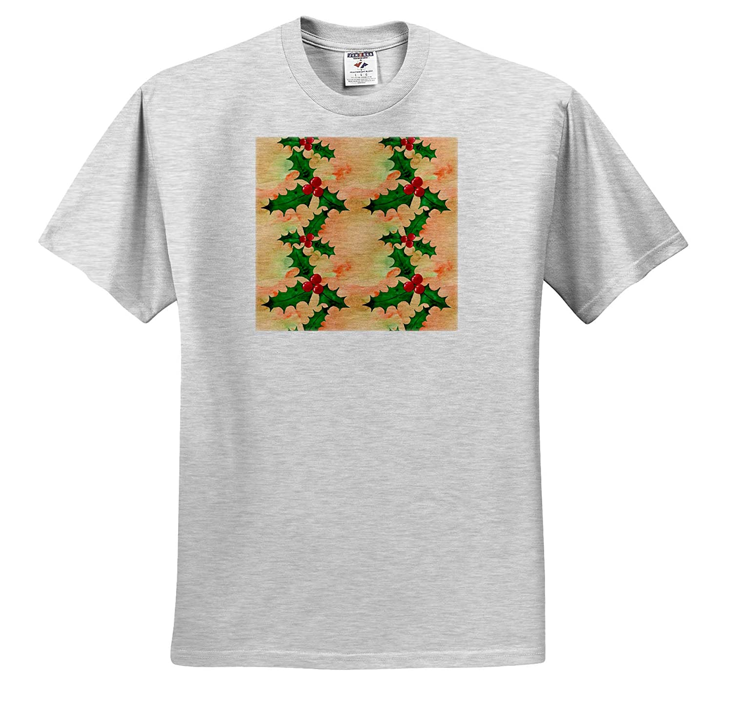 Christmas Cute Image of Watercolor Holly Berry Pattern 3dRose Anne Marie Baugh ts/_318535 Adult T-Shirt XL