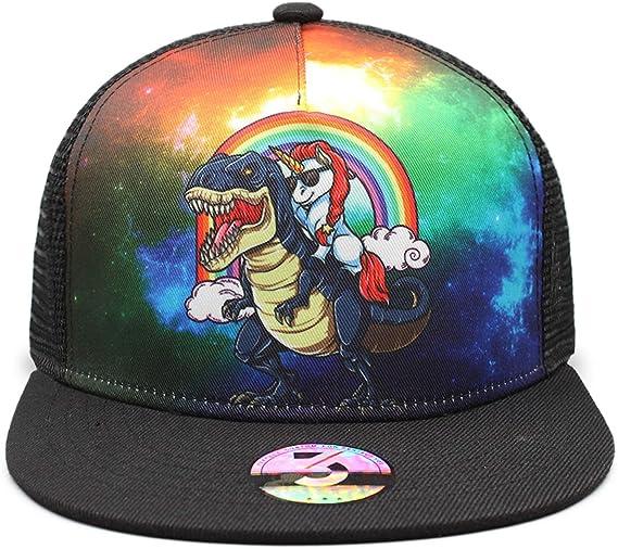 MSGUIDE Cute Unicorn Trucker Hat for Girls Adjustable Mesh Hat Baseball Cap Snapback Trucker Cap for Kids