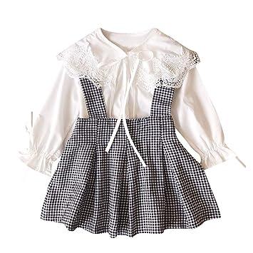 900a478284ebb ベビー服 子供服 女の子 ワンピース Plojuxi 長袖 可愛い サロペット レースシャツ+スカート ロンT セットアップ