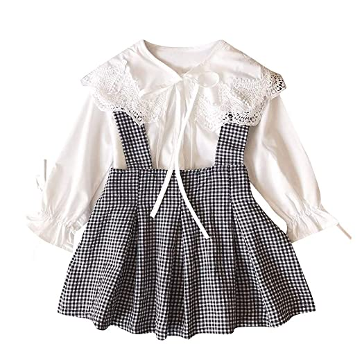 1ae7e3fa9 Amazon.com: AMSKY❤ Baby Boys Clothes 3-6 Months Carters, Toddler Kids Baby  Girls Lace T Shirt Tops+Plaid Skirt Outfits Clothes 2pcs Set: Clothing