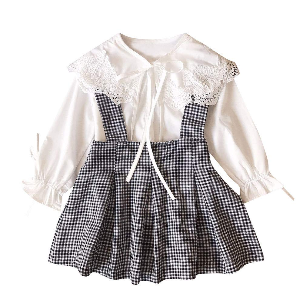 Kids Girl Outfits,Fineser Lovely Kids Baby Girls Lace T-Shirt Tops+Plaid Suspender Skirt Clothes 2Pcs Sets 3-7T (White, 3T(100))