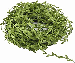 MMkiss 65 Ft Artificial Vines,Artificial Eucalyptus Leaf Garland Fake Hanging Plants Leaves DIY Wreath Foliage Green Leaves Ribbon Decorative Wreath Accessory Wedding Wall Crafts Party Décor