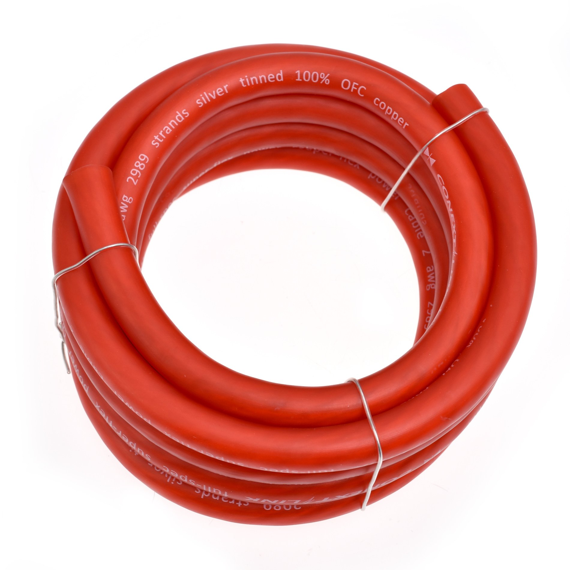 Conext Link 10 FT 2 AWG GA Full Gauge Battery Power Cable Ground Wire Frost Red OFC Copper