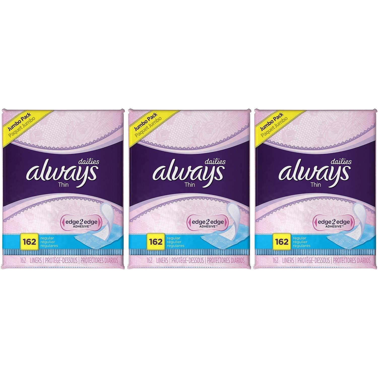 Always Thin Dailies Wrapped Liners, Unscented, 162 Count (3-Pack)
