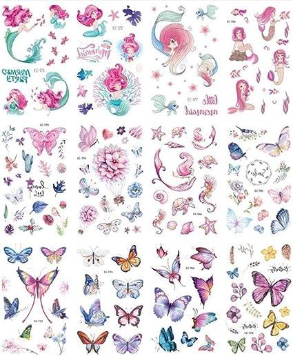 KAMRL Tatuaje Falso Tatuaje 12 Hojas De Sirena Unicornio ...