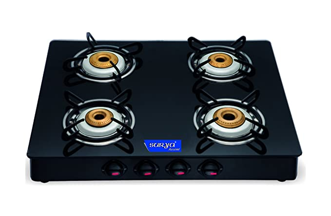 Surya Accent 4 Burner Glass Top, Black Gas Stoves at amazon