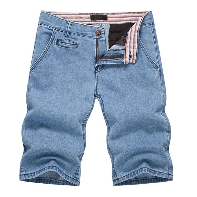 Moda Bermudas Shorts Hombre Estilo Jeans Pantalón Retro Stretch de Vintage Slim Fit Vaqueros Cortos Azul