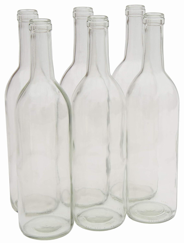 North Mountain Supply 750ml Glass Bordeaux Wine Bottle Flat-Bottomed Cork Finish - Case of 6 (W5 Clear/Flint)