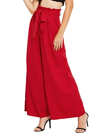 c0739d5e4 SheIn Women's Casual Belted High Waist Wide Leg Palazzo Dress Pants at Amazon  Women's Clothing store: