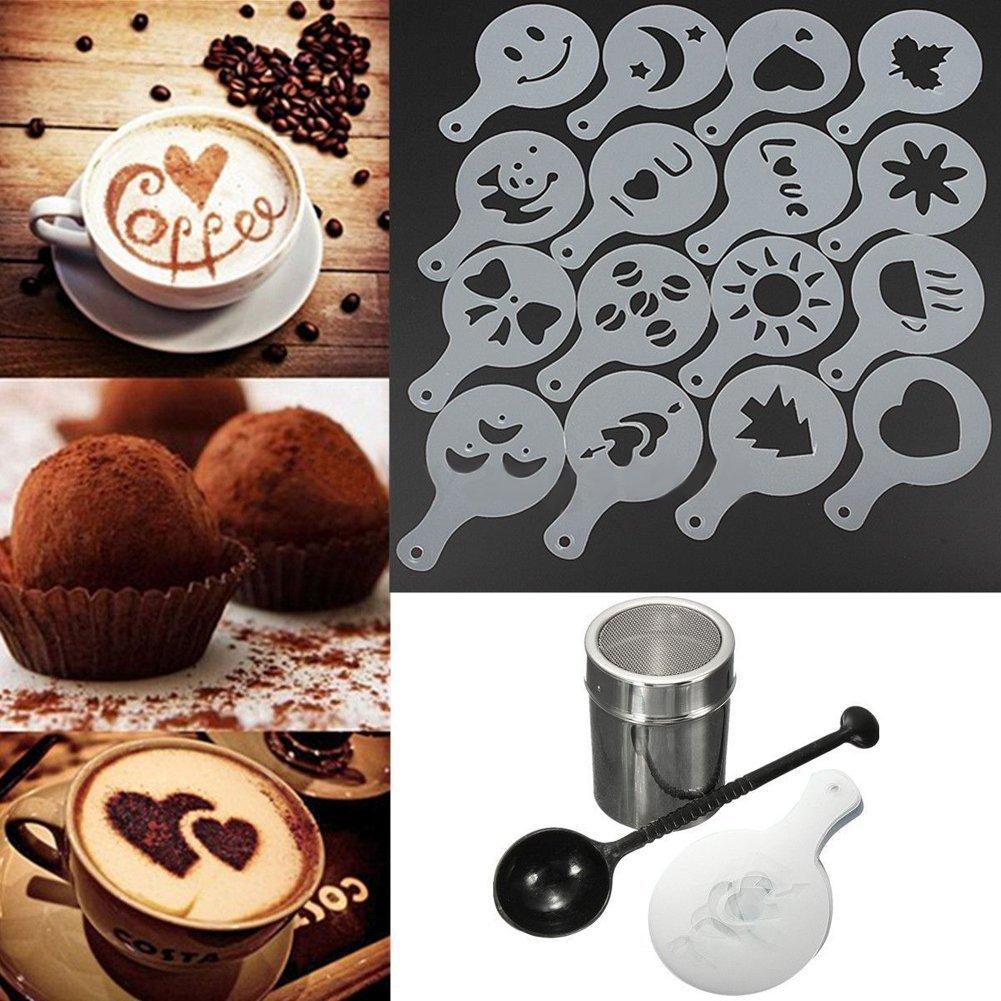 Kit cucchiaio per cucchiaio Set per la preparazione del caff/è Strumento da cucina per la casa 16 pz Stencil per cappuccino Ogquaton Spolverino per agitatore di cioccolato di alta qualit/à