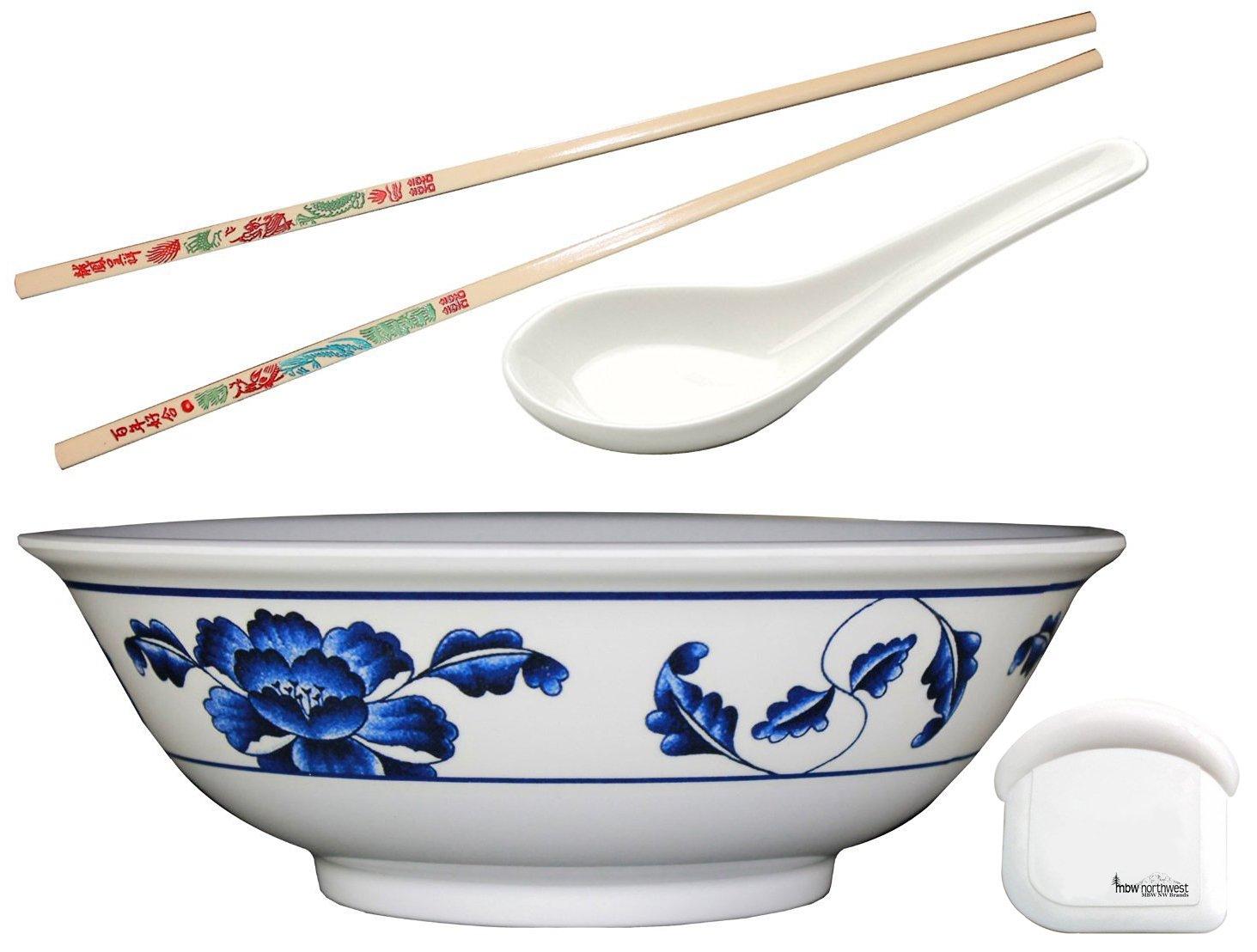 Pho Rice / Noodle Melamine Soup Bowl Set with Pan Scraper, 57 Ounce, 9.75 Inch, Includes 1 Pair of Chopsticks and 1 Oriental Soup Spoon, Pho size: Large, Design: Blue Lotus