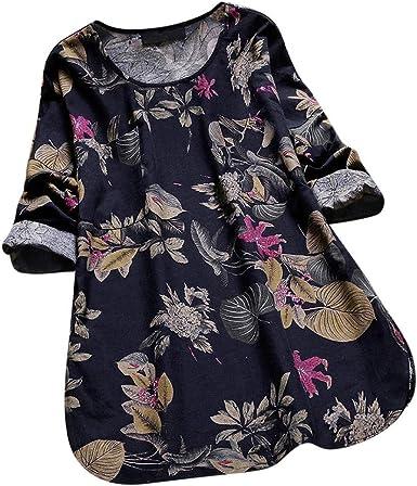 RUIVE Women/'s Vintage Floral Print Blouse Casual Half Sleeve Button V Neck Long Sweatshirt Ladies Plus Size Tops