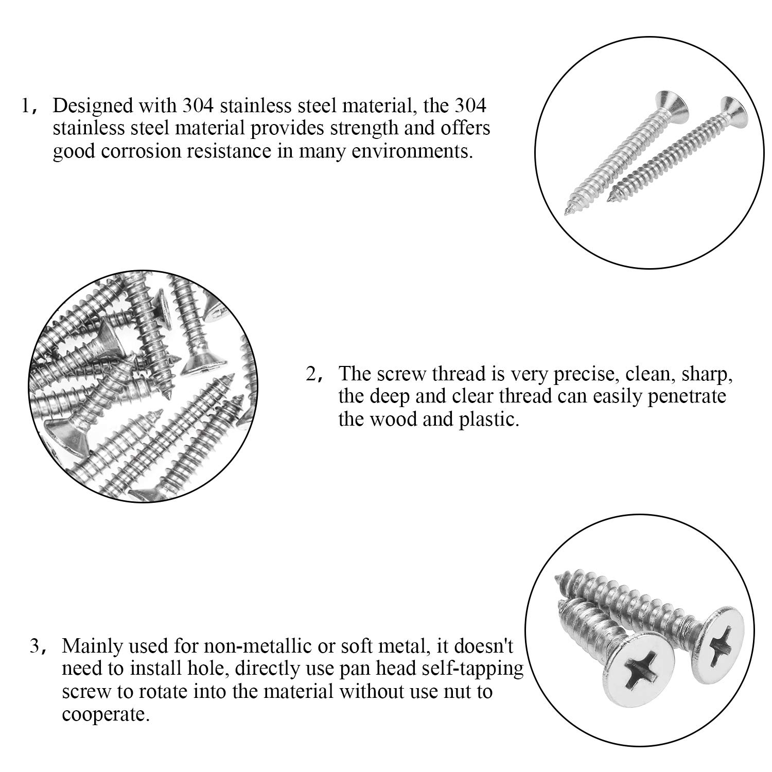 1-1//4 1 3//4 1//2 Wood Screws Assortment Kit DYWISHKEY 200 Pieces #8 x 3//8 1-1//2 1-5//8 Stainless Steel 304 Phillips Flat Head Self-Tapping Screws 5//8