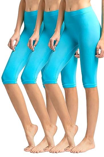 3d7bd1906ebab MOPAS Women's Ribbed Waistband Knee Length Plain Leggings (Pack of 3) -  Aqua,