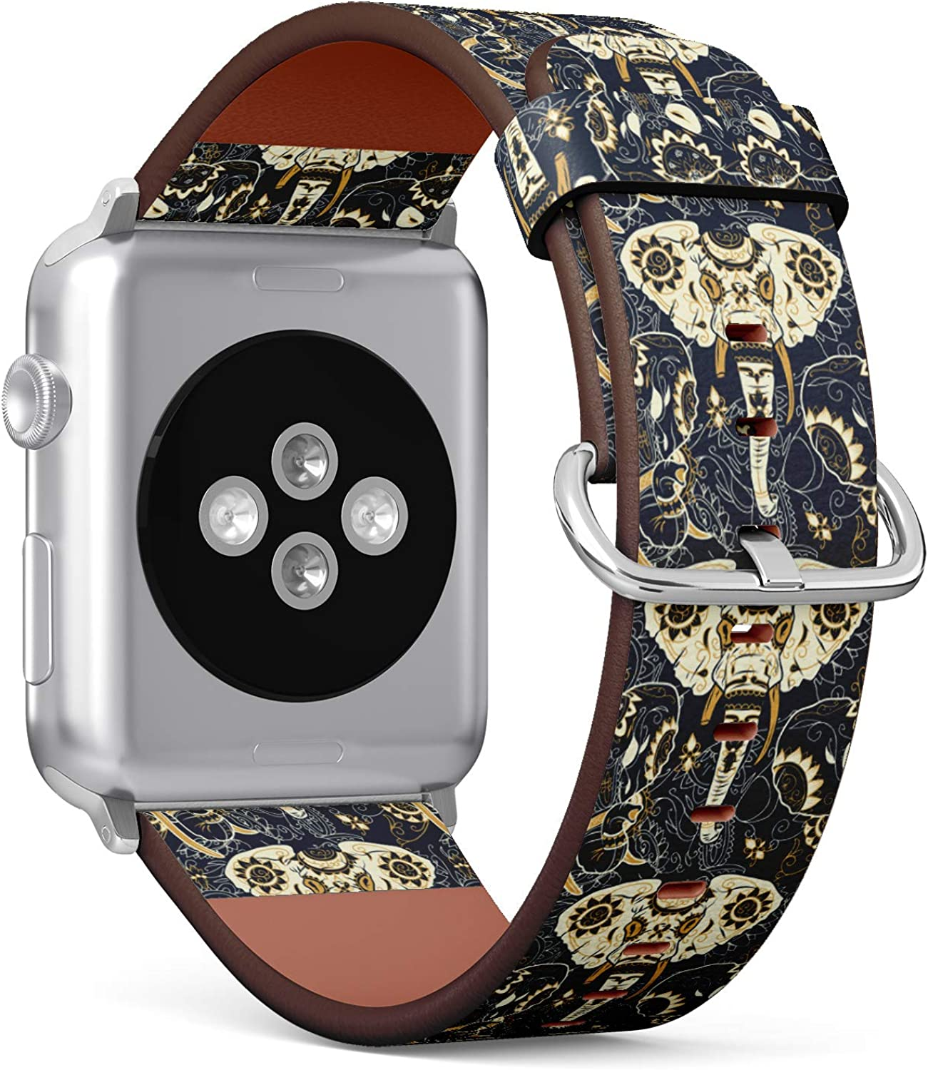(Tribal Indian Elephant with Floral Ornament Pattern) Patterned Leather Wristband Strap for Apple Watch Series 4/3/2/1 gen,Replacement for iWatch 42mm / 44mm Bands