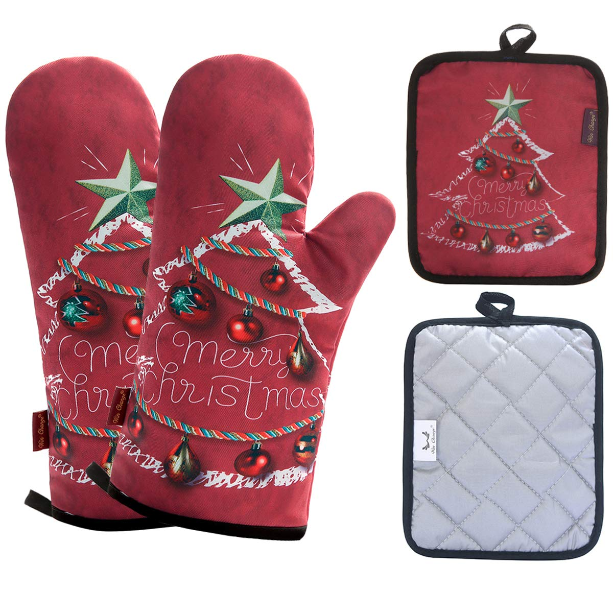 Win Change Oven Mitts and Potholders Christmas-Pot Holders and Oven Mitts Heat Resistant with Recycled Cotton Infill Silicone Non-Slip Cooking Gloves for Cooking Baking Grilling (4-Piece Set) (Red)